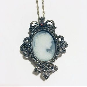 Light Blue Cameo and Ruby Necklace/Brooch Bow SS